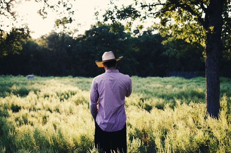 Cowboy in rural scene during sunset outdoors. Cowboy Ranch Texas Beauty In Nature Clothing Cowboy Hat Day Farmer Field Hat Land Landscape Leisure Activity Men Nature One Person Outdoors Real People Rear View Rural Scene Standing Sunset Tree Western Wear