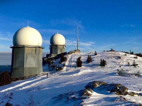 Radar Bayerischer Wald Radar Station Winter Sky Architecture Snow Cold Temperature Built Structure Building Exterior Dome Mountain