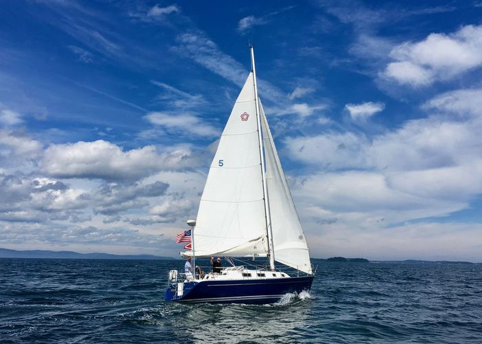 Beauty In Nature Blue Cloud - Sky Day Journey Mode Of Transport Nature Nautical Vessel Non-urban Scene Outdoors Sailboat Sailing Scenics Sea Seascape Sky Tourism Tranquil Scene Tranquility Transportation Vacations Water Water Surface Waterfront