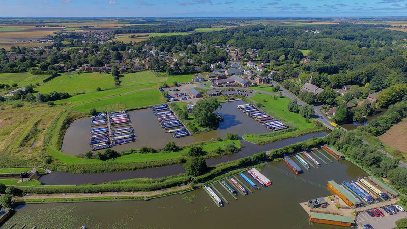 Aerial View Architecture Beauty In Nature Canalbarge Canals And Waterways Day Green Color High Angle View Landscape Nature No People Outdoors Scenics Tranquil Scene Tranquility Village Water Wide Shot