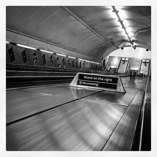 5.35 A.M Stand on the right. Londontranspot Londonunderground Travel Escalator Underground Trains Tube Northernline Commute Waterloo Travels Travling Underground Train