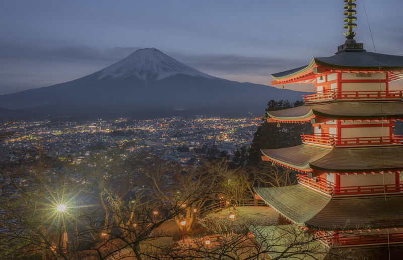Chureito pagoda with mt fuji in background