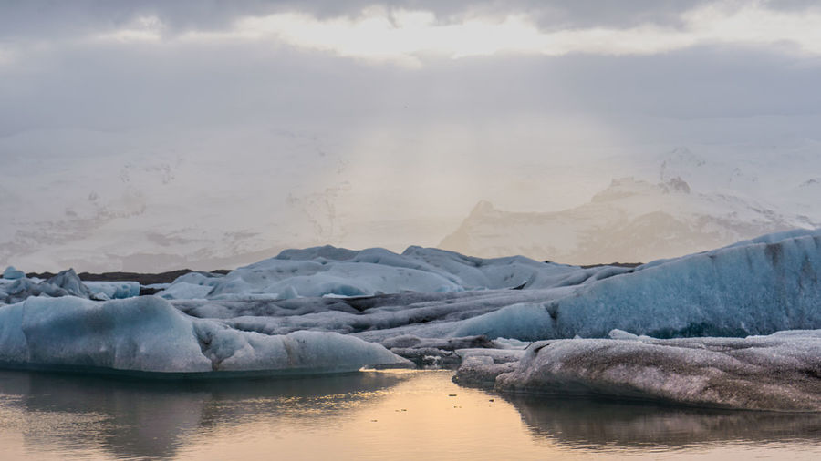 Scenic view of glacier lagoon in iceland melting from global warming