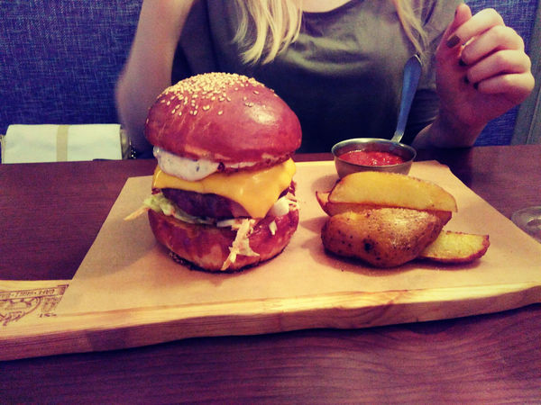 In The Cafe Burger Delicious Food
