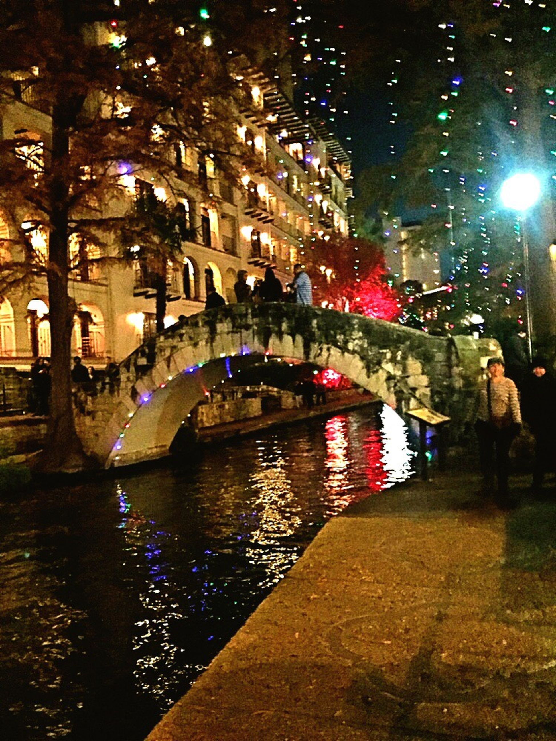 night, bridge - man made structure, people, illuminated, adult, only men, one person, adults only, outdoors, one man only, gondola - traditional boat