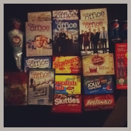 Christmas Eve gifts... -seasons 1-7 of the office -the office:secret Santa pack -2 pepsi's -starburst, Swedish fish, skittles, popcorn, jolly ranchers, hot tamales, gummi bears, cotton candy. -and transformers toothbrush and tooth paste so I don't get cavities. (: my night is gonna be fun... (Side note. Presents are from grandma , dad , and Caleb's family. I celebrate Christmas with them on Christmas Eve.) Notsleeping AllMine