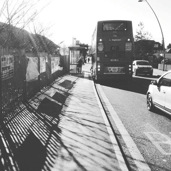 Blackandwhite Taking Photos Bus Stop Bus Cars Walking Around Street Sidewalk London City Life