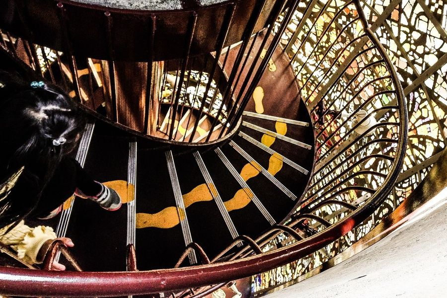 Stained Glass Sculpture Spiral Staircase Tower
