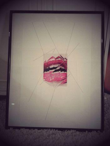 Myartwork Collage Blackline Redlips Art Brokenmirror Myview Kunst