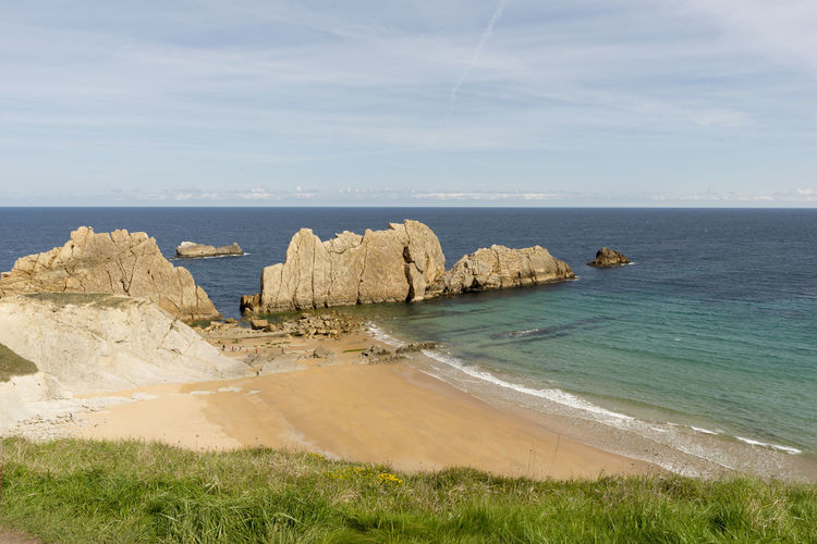 Cantabria Arnia Beach Beauty In Nature Coast Day Grass Horizon Over Water Idyllic Landscape Nature No People Ocean Outdoors Rock - Object Scenics Sea Sky Tranquil Scene Tranquility Water