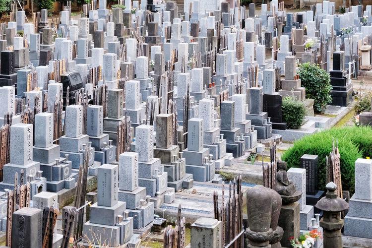 Panoramic shot of buildings in cemetery