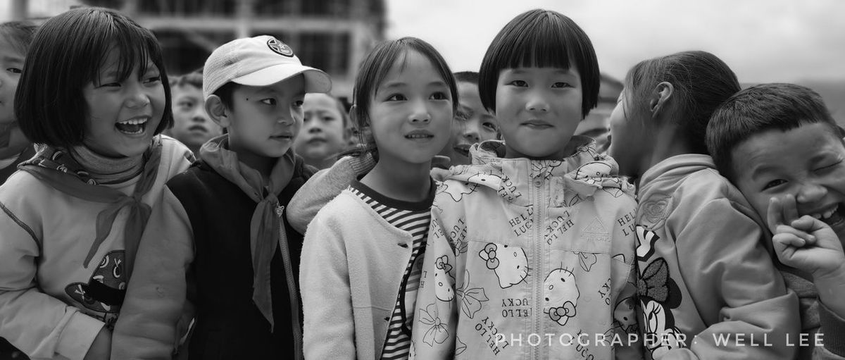 Shy EyeEm Selects Group Of People Child Childhood Girls Togetherness Females Looking Real People Group People