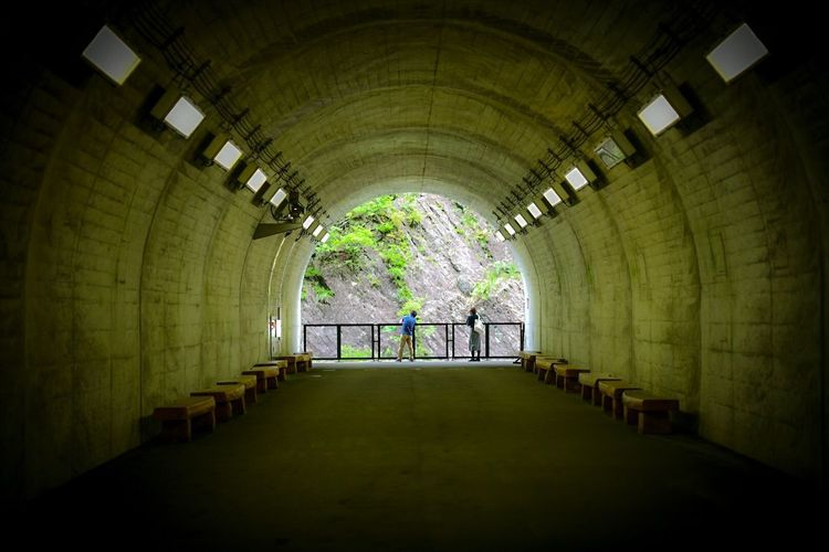 ここから、沢に降りていきたい。 Architecture The Way Forward Built Structure Direction Indoors  Illuminated Lighting Equipment Tunnel Diminishing Perspective Arch