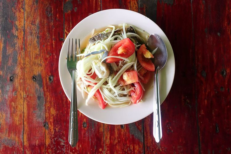 Somtam  Papaya Salad Thai Food Yummy Chily Delicious Street Food Thailand Tomatos Food And Drink Food Healthy Eating (null)Freshness Directly Above Vegetable Table Ready-to-eat Plate Healthy Lifestyle No People Crab