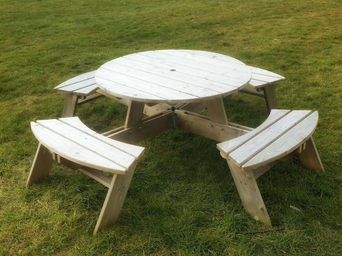 CircularPicnic Table on GrassSlight Glow