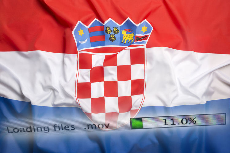 Text and croatian flag on computer screen