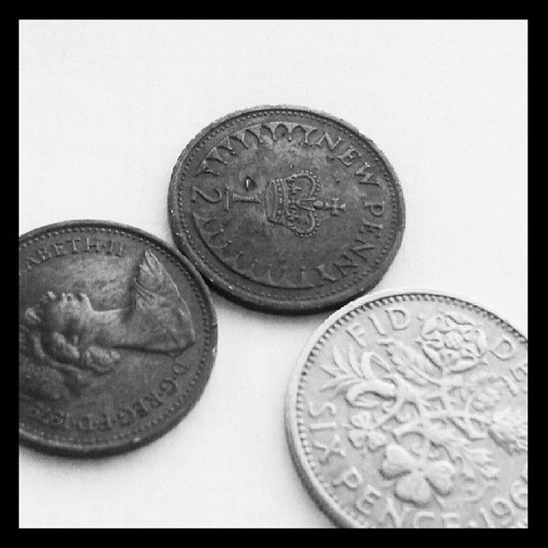 May photo-a-day challenge. Day 22. Change. An old school sixpence and two half pennies Fmsphotoaday Currency Money Change blackandwhite macro