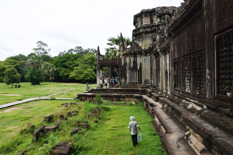 Rear View Of Man At Angkor Wat