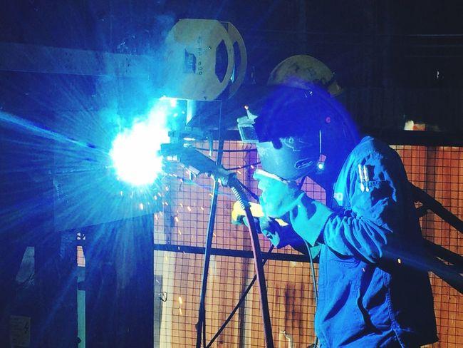 Welding Welder Glare Spark Mask One Person Steelwork