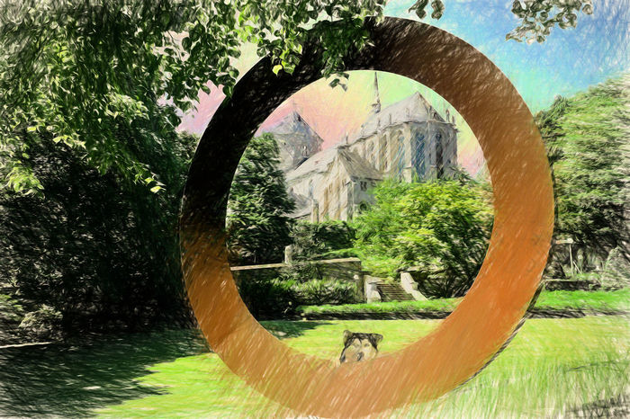 Church Münsterkirche  Tree Circle Day Grass Growth Nature No People Outdoors Painting Image Street Tree Tree Trunk