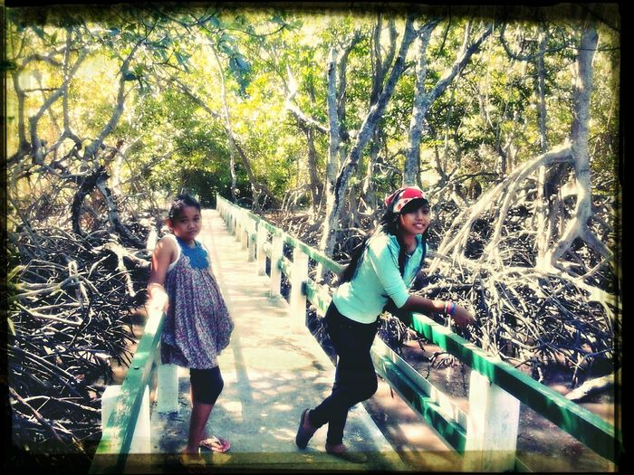 enjoy the beauty of the mangrove forest with my sister :) Hanging Out In Baluran Beach