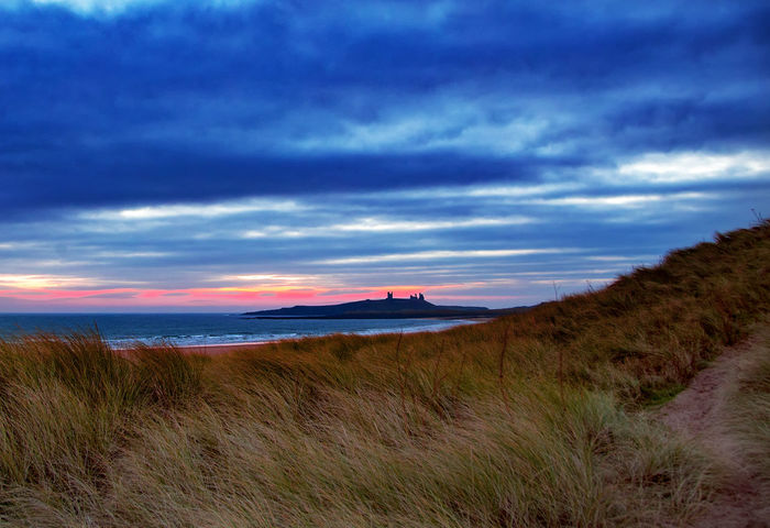Beach grass Dunstanburgh Castle Embleton Beach Beauty In Nature Cloud - Sky Day Grass Landscape Marram Grass Nature No People North Sea Outdoors Scenics Sea Sky Tranquil Scene Tranquility Travel Destinations Water