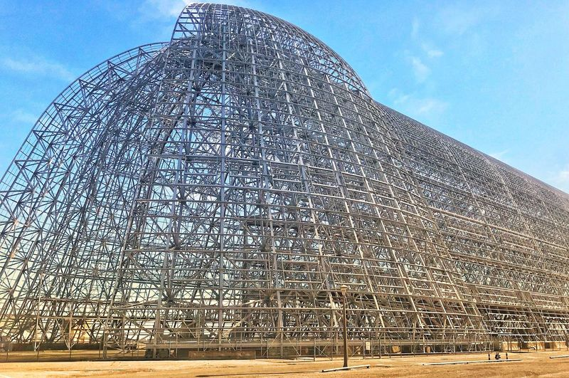 Hangar One Air Travel  Historic Building Moffett Airfield Dirigible Hangar Hangar See-through Man Made Structure Blimp Hangers Sky Low Angle View No People Architecture Built Structure Nature Building Exterior Blue Pattern Outdoors Modern Metal Building Dome Day