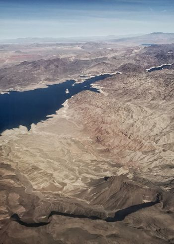 Lake Mead. Drainage Erosion Desert Colors River System Western USA Desert Lake Mead Reservoir Landscape Nature Scenics Arid Climate Geology Tranquil Scene Physical Geography Beauty In Nature Aerial View Mountain Desert Sky Day