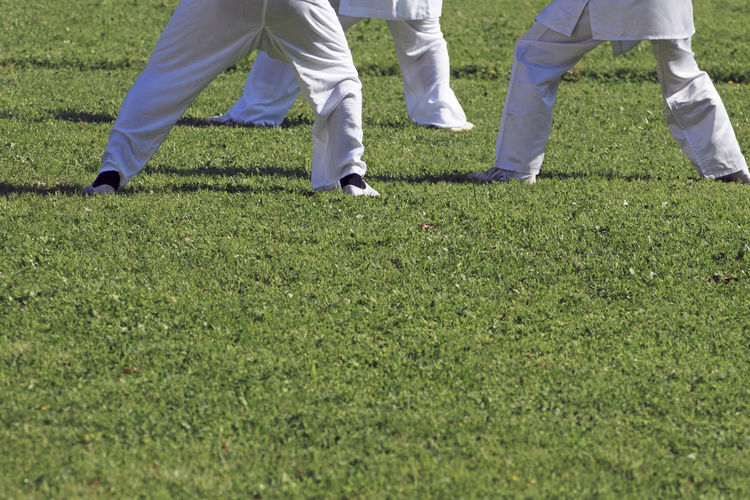 Low section of men exercising on grassy field