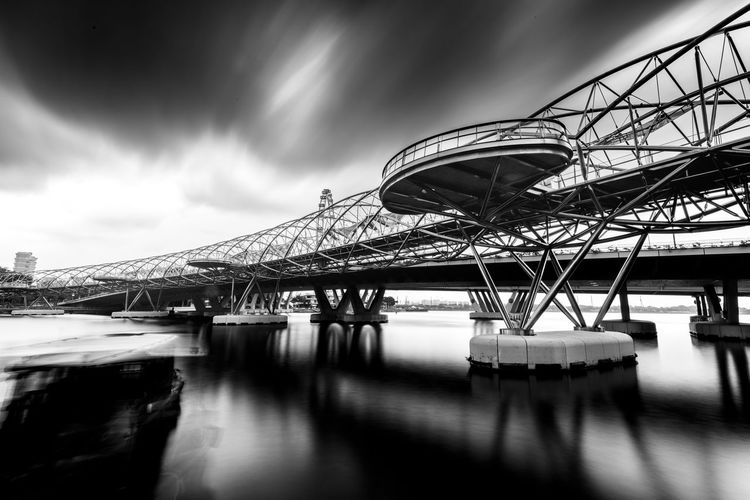 Black And White Landscape Marina Bay Sands Singapore Art Black And White Brige Canon Landscape Long Exposure Photography