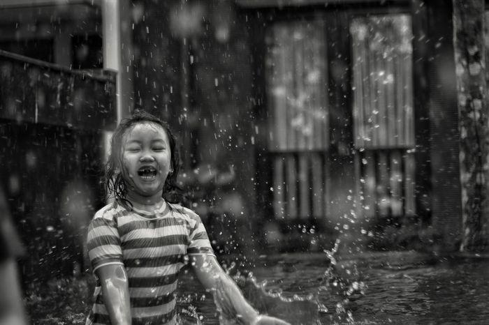 Happy Childhood Children Only Child Fun Happiness Cheerful Smiling Outdoors Water Enjoyment Blackandwhite Eyeem Photo Of The Week EyeEm Photo Of The Day EyeEmNewHere Bandung, West Java INDONESIA