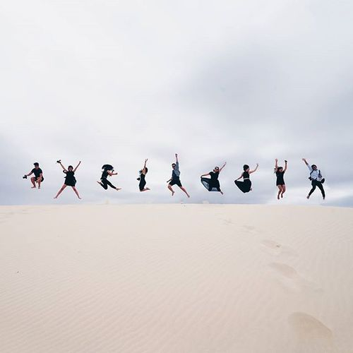 'good friends are hard to find, harder to leave, and impossible to forget' // great weekend roadtrip with this talented bunch of people! this is what i meant when i said jumping around at the sand dunes! 🏃 - Newsouthwales Minimalpeople Jumpotd Mynewcastle @mynewcastle