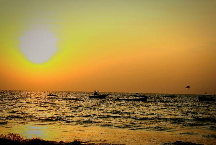Sunset Ocean Beach Beach Photography Boats⛵️ Beautiful Evening Sillhouette Before Dark