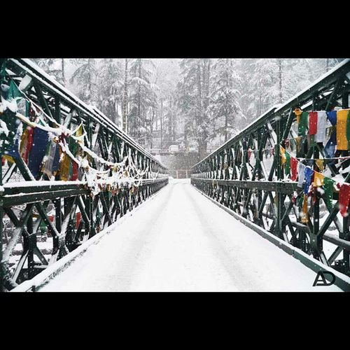 Beas Bridge on Leh Manali Highway Himachal Himalayas Indianhimalayas Manali Nikon D610 PrayerFlags Himalayan Connection . Snow Snowfall Hugetrees Instahimalayas Picoftheday Ankitdogra