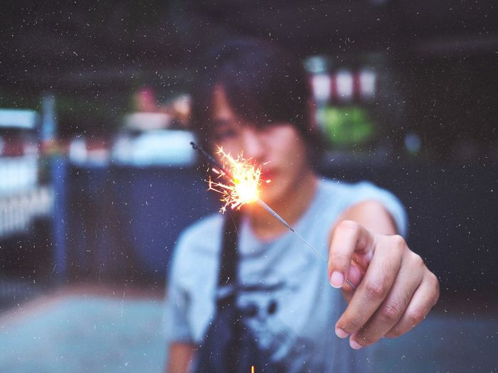 spark Night Human Hand Human Body Part Hand One Person Star - Space Motion Firework Outdoors