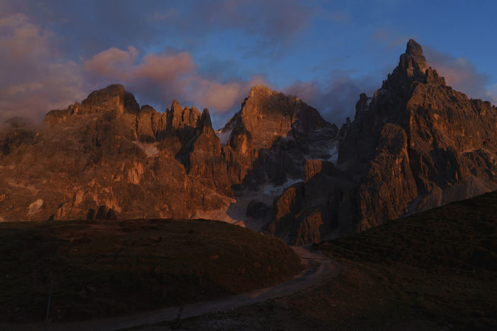 Awe Clouds Dolomites Dolomiti Geology Igniting Italia Landscape Mountain Mountain Peak Mountains Nature No People Outdoors Pale Di San Martino San Martino Di Castrozza Sunset Trentino Alto Adige