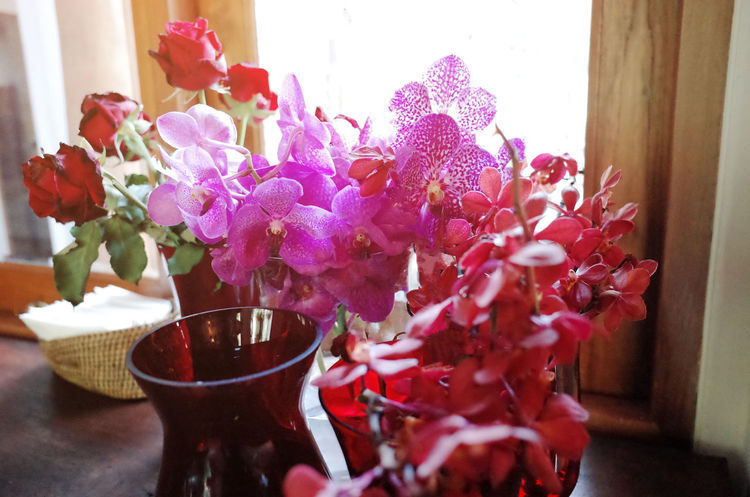 Beauty In Nature Bouquet Bunch Of Flowers Close-up Day Decoration Flower Flower Arrangement Flower Head Flower Pot Flowering Plant Food And Drink Fragility Freshness Glass Indoors  Nature No People Petal Pink Color Plant Purple Table Vase Vulnerability
