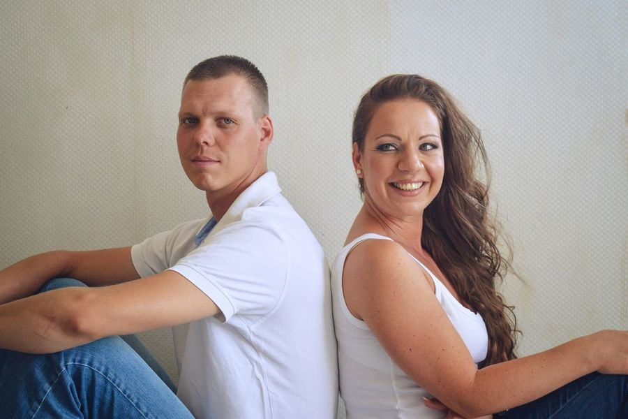 Couple Engagement Sister Blue Jeans Couple - Relationship Cute Indoors  Looking At Camera Portrait Smile White Shirt Young Adult Young Man Young Women