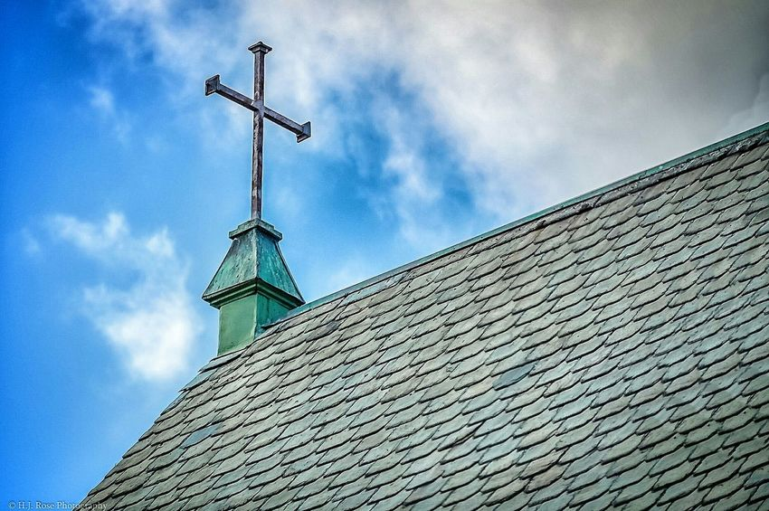 Same church, different angle. Church Slateroof Shingles Cross Crucifix Clouds And Sky Sony A6000 18-105mm