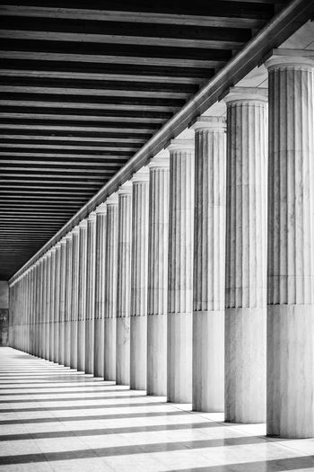 Stoa of Attalos Agora Agora Of Athens Ancient Architecture Ancient Civilization Architecture Athens Athens, Greece B&w Built Structure Columns Culture Greece Greek Marble Monochrome No People Outdoors Pattern Repetition Stoa Of Attalos