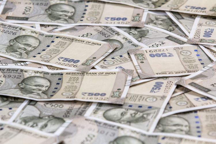 Close up background of new 500 rupee note 500 Rupee Close Up 500 Rupees Economy Indian Rupee Backgrounds Close-up Currency Finance Indoors  Paper Currency Rupee Background Savings Wealth