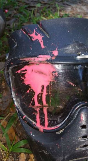 After a fun day of paintball Sunday Fun Day Paintballing Paintball Pink Splash Helmet They Shot Me You Should See The Other Guy