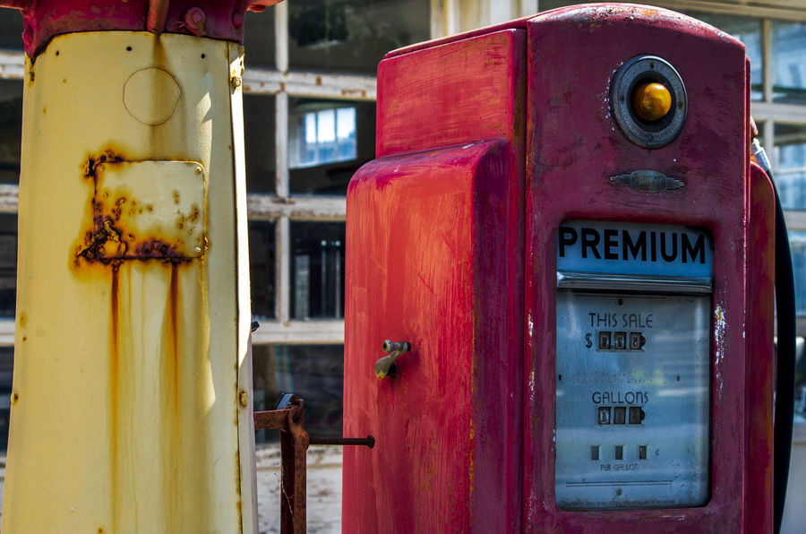 Abandoned Close-up Communication Connection Day Deterioration Focus On Foreground Fuel And Power Generation Fuel Pump Metal Meter - Instrument Of Measurement No People Obsolete Old Red Refueling Rusty Safety Technology Telephone Telephone Booth Text