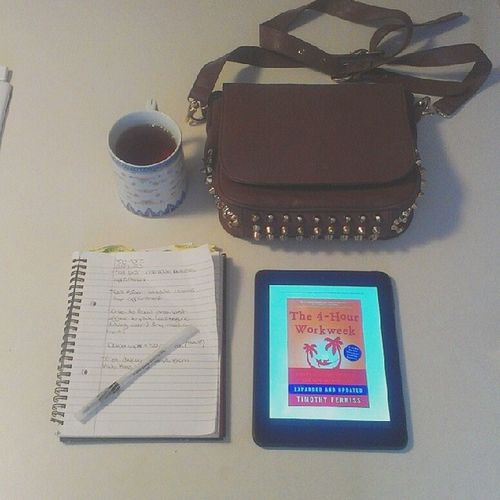...and off I go, after #tea of course. Current #read: #the4hourworkweek (I HIGHLY recommend it). Worksmartnothard Teadrinker Tea Teasnob Notes Workingsmart Fashion Studdedpurse Read Style Purse Classy Accessories Girly Mybag Planner Goodbook Satchel  The4hourworkweek