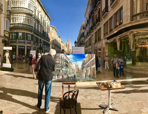 A creative painter painting the street in the city of Pable Picasso, in the city of echoes and yearning. Malaga, city center, Spain 🇪🇸 City Men Artist Painter Outdoors Day People Streetphotography Painting Creativity SPAIN Real People One Person Full Length Street EyeEm Best Shots EyeEm Gallery Wanderlust Vacations Been There.