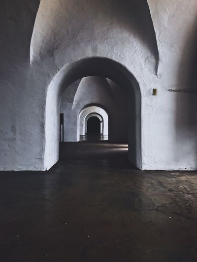 In my Old San Juan Indoors  Arch Built Structure Architecture Corridor The Way Forward Day No People PR Puertorico Sancristobal Antique Old Construction Spanish Fun Cool Dark Castle Fort Island EyeEm
