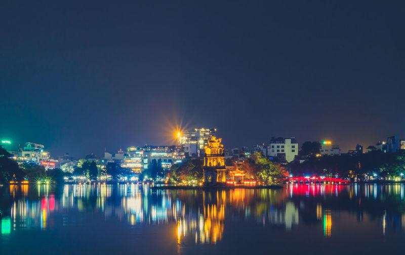 Nightphotography City Cityscape Illuminated Hanoi Vietnam Old Town Street Light Residential District TOWNSCAPE