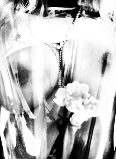 BIG Black And White Boobs, Close-up Day Flower Hi Contrast Necklace