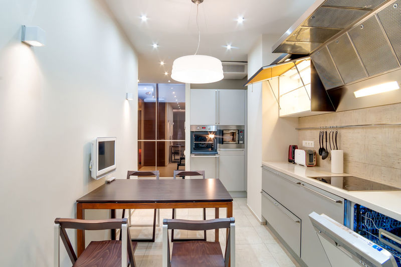 Home Domestic Room Indoors  Modern Lighting Equipment Home Interior Kitchen Domestic Kitchen Illuminated Furniture Seat Architecture Table No People Home Showcase Interior Absence Ceiling Sink Household Equipment Luxury Cabinet Light Flooring Steel