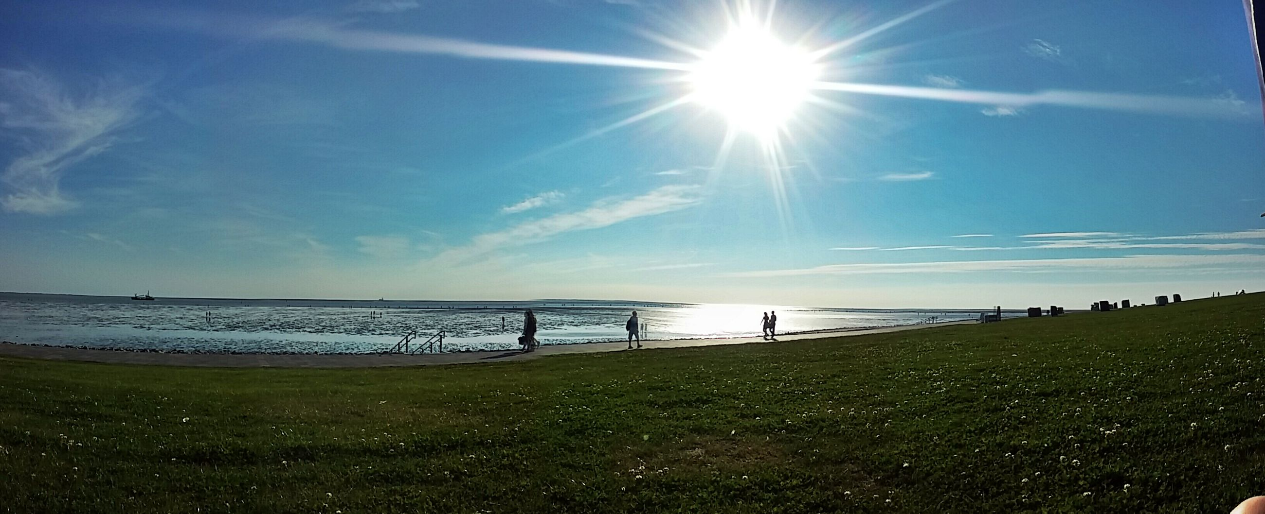 water, sun, tranquil scene, sunlight, grass, sea, horizon over water, beach, tranquility, scenics, tourism, sunbeam, vacations, sky, beauty in nature, sunny, day, nature, travel destinations, non-urban scene, blue, lens flare, outdoors, green color, bright